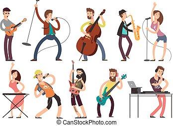 gestein, und, knall, musiker, vektor, karikatur,...