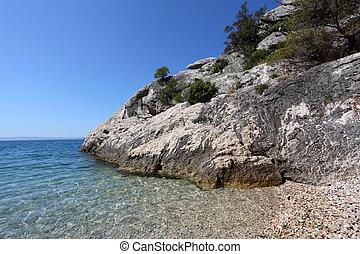 gestein, und, kristall netto, wasser, an, der, adria, kueste, in, kroatien