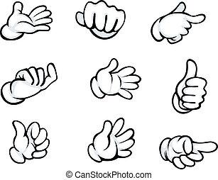 gesten, satz, hand