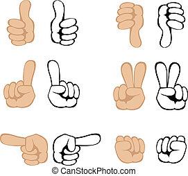 gesten, vektor, hand