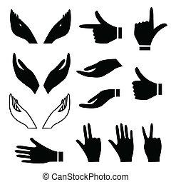 gesten, verschieden, hand