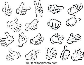 gesten, zeiger, karikatur, hand