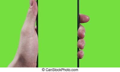 gestes, écran, main, 11, jeune, vert, toucher, homme, smartphone