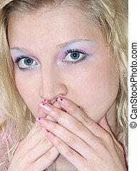gestes, blond, girl, silence