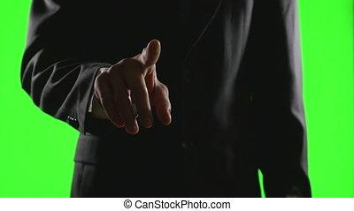 gestes, business, écran, jeune, virtuel, main, environnement, vert, confection, homme affaires