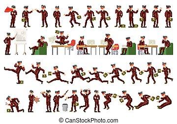 gestes, ensemble, bureau, fonctionnement, ouvrier, recherche, marche, caractère, actions., poses, conversation, grand, vecteur, téléphone, professionnel, sauter, homme affaires, more., courant, debout