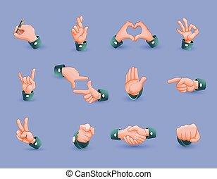 gestes, ensemble, icône, main