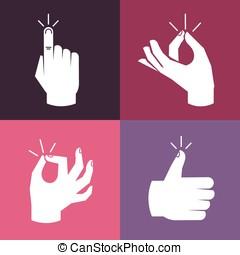gestes, ensemble, vecteur, mains