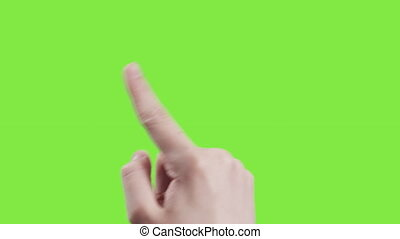 gestes, femme, écran, main, 17, jeune, vert, toucher