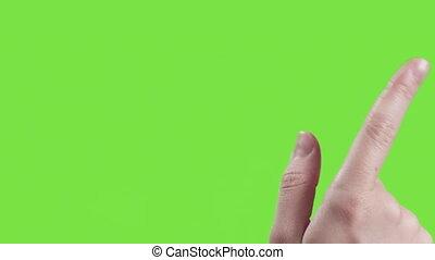 gestes, femme, écran, main, jeune, vert, toucher, 16