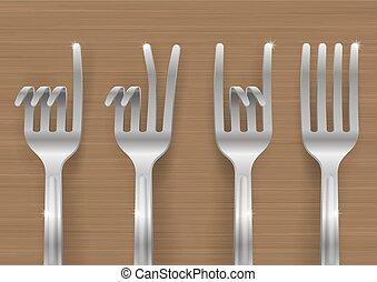 gestes, fourchettes, ensemble, penchant, formulaire