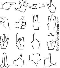 gestes, ligne, ensemble, main, icônes
