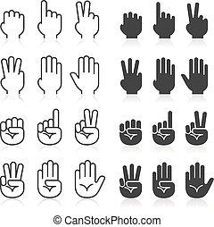 gestes, ligne, main, set., icônes