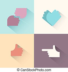 gestes, logo, set., main