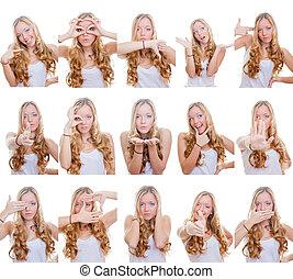 gestes, multiple, ou, signes
