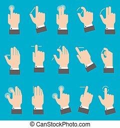 gestes, multitouch, smartphone, ou, tablette