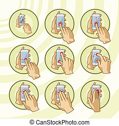 gestes, set., smartphone, commun