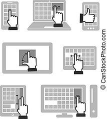 gestes, travail, moderne, isolé, gadgets, fondamental, toucher, blanc, guide