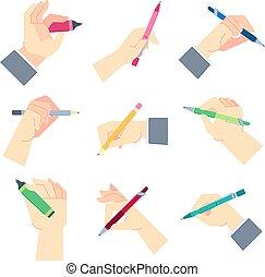 gesti, set, foglio, mano, blocco note, accessori, illustrazione, scrittura, scrivere, penna, vettore, carta, mani, uomo affari, o, hands.