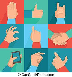 gesti, set, vettore, mani