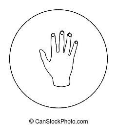 gesti, stile, illustration., icona, simbolo, isolato, mano, alto, fondo., vettore, cinque, bianco, casato, contorno