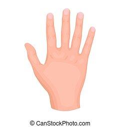 gesti, stile, illustration., simbolo, isolato, mano, alto, fondo., vettore, cinque, bianco, icona, cartone animato, casato