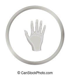 gesti, stile, illustration., simbolo, isolato, mano, alto, fondo., vettore, cinque, monocromatico, bianco, icona, casato