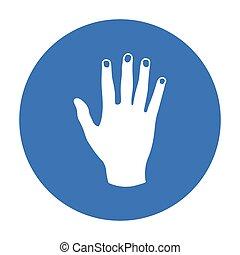 gesti, stile, illustration., simbolo, isolato, mano, alto, fondo., vettore, nero, cinque, bianco, icona, casato