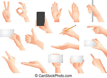 gesti, vettore, set, mani