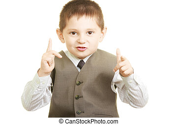 Gesticulation - Little cute boy in vest and shirt at ...
