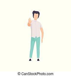 gesticule, faceless, sinal, parada, mostrando, personagem, jovem, ilustração, gesto, vetorial, palma, fundo, branca, mão, sujeito, homem