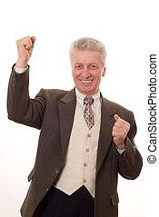 gesticule, negócio, cima, isolado, polegares, retrato, branca, feliz, homem sênior