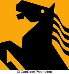 gestileerd paard, hengst, prancing, met, vloeiend, mane.