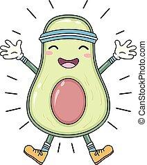 gestimuleerde, avocado, oefening, illustratie, mascotte