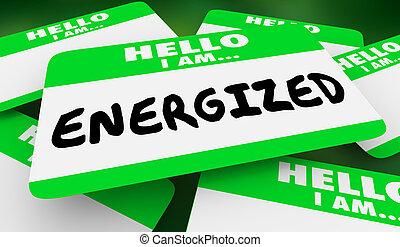 gestimuleerde, naam, energie, illustratie, label, actief, hallo, 3d