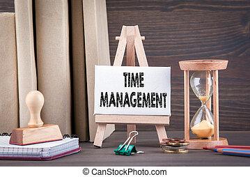 gestion, bois, concept., minuteur, sandglass, calendrier, oeuf, ou, sablier