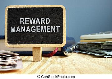 gestion, bureau, concept., pad., note, table, récompense