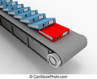 gestion, bureau, flot travail, processus, système, illustration, concept.3d, automatiser, document