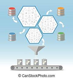 gestion, business, base données, intelligence, concept., traitement