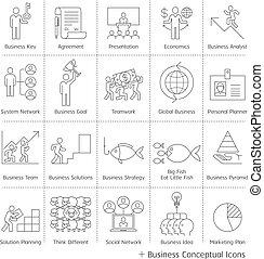 gestion, business, icons., vecteur, mince, conceptuel, ligne, style.