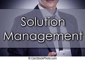 gestion, business, texte, -, solution, jeune, concept, homme affaires