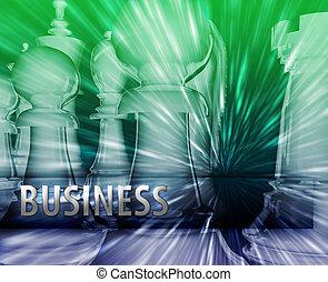 gestion, business, themed, résumé, illustration, stratégie, échecs
