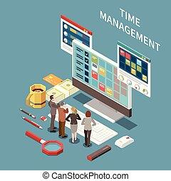 gestion, concept, isométrique, temps