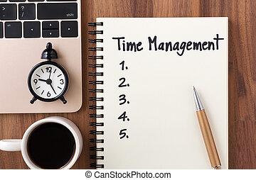 gestion, concept, liste, cahier, temps