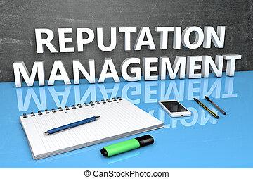 gestion, concept, texte, réputation