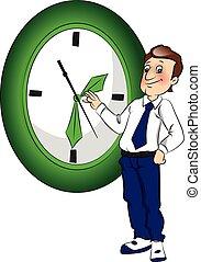 gestion, concept., vecteur, temps