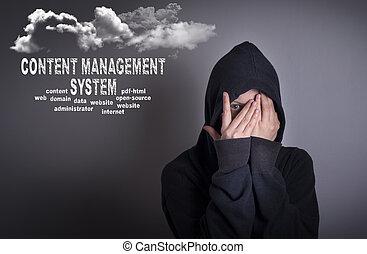 gestion, couverture, concept., système, contenu, femme