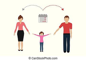 gestion, divorcé, famille, patchwork, enfant, concept, parents, temps, soin