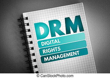 gestion, droits, acronyme, numérique, -, drm