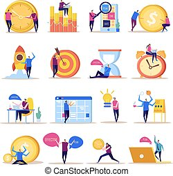 gestion, ensemble, buts, icône